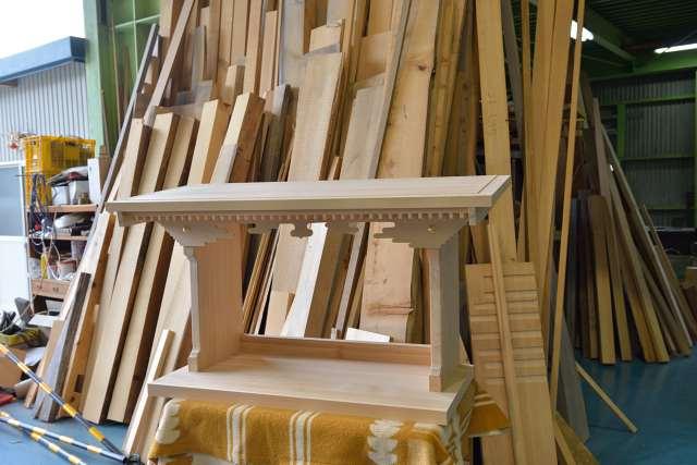 施工例14別誂えの神棚板の製作 屋根完成