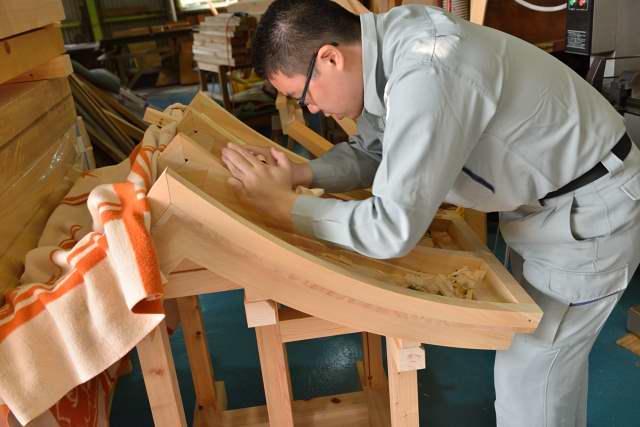 稲荷宮尺屋根加工 銅板下地製作