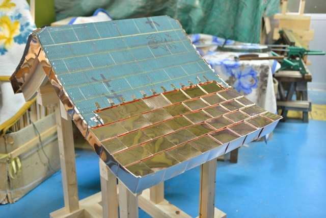 稲荷宮尺組立 銅板一文字葺屋根