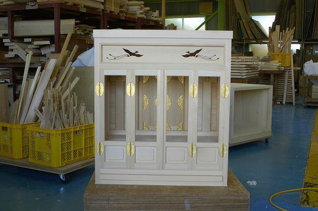 5尺型御霊舎の板欄間に鳳凰のくり型