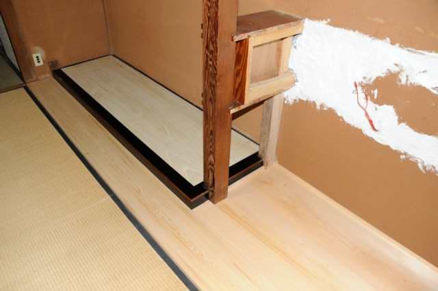 御霊舎施工例6 下地施行 床貼替え