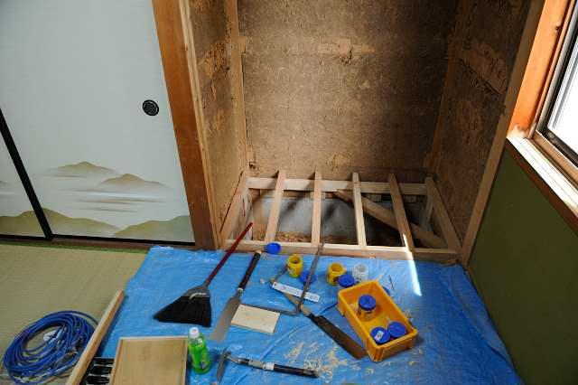 御霊舎施工例5 下地製作 床施工