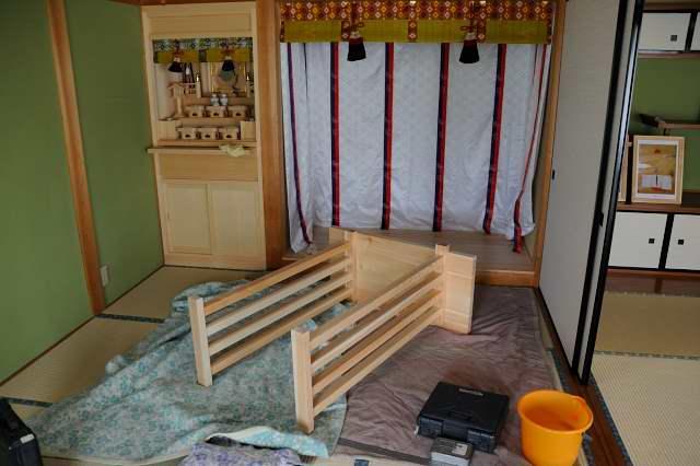 施工例1神床製作と御霊舎取付 八足組立