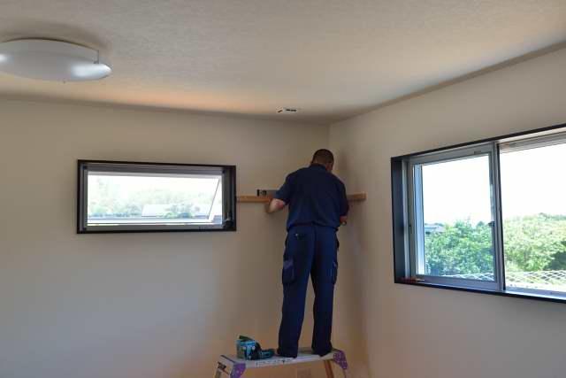 施工例11神棚用棚板の取付 棚受けの取付