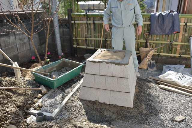 稲荷宮台座施工 天板設置準備