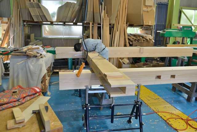 施工例15冠木門の製作 仮組み