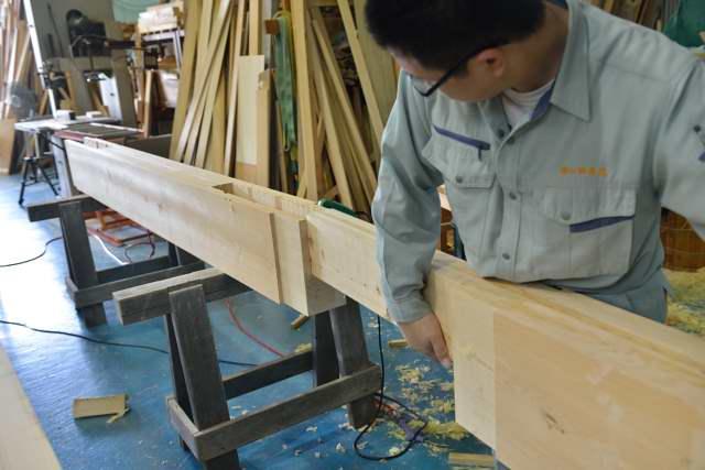 施工例15冠木門の製作 まぐさ仮組み