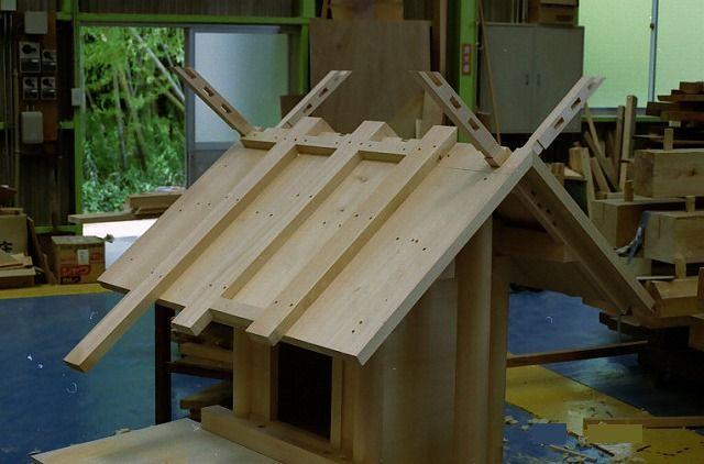 神明造宮 2尺 屋根組立 オガワラ葺屋根