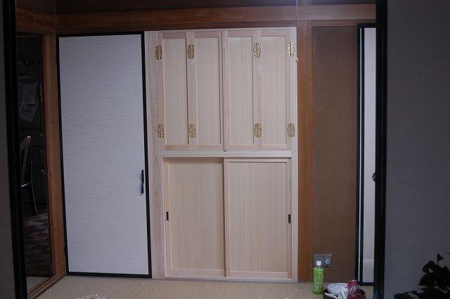 組み込み式御霊舎,祖霊舎,神徒壇 施工例1-2 板建具とふすま取付