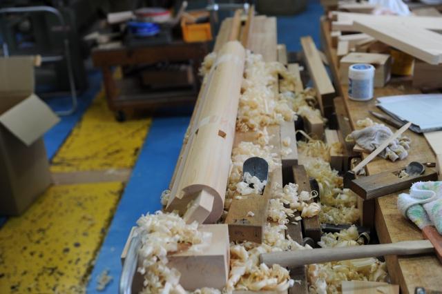 神明造宮 柱丸め加工