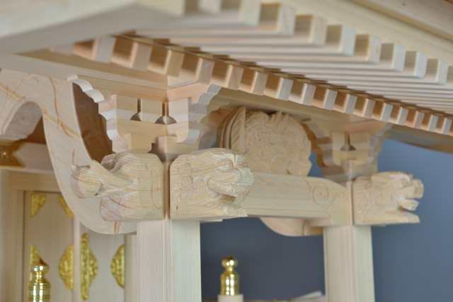 稲荷宮7寸 2段垂木 獅子、バク彫刻