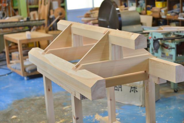 弁天宮の屋根組立