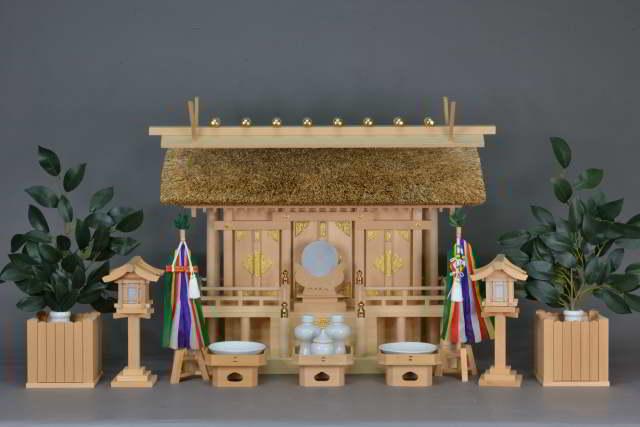 茅葺屋根通三社宮(小)と特別神具セット