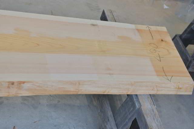 桧の一枚板010 木表 末口