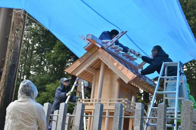 八百津神明神社 千木、鰹木取付
