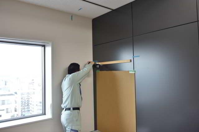 雲板付格子棚板の取付準備
