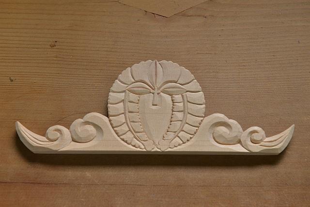 家紋彫刻 下り藤